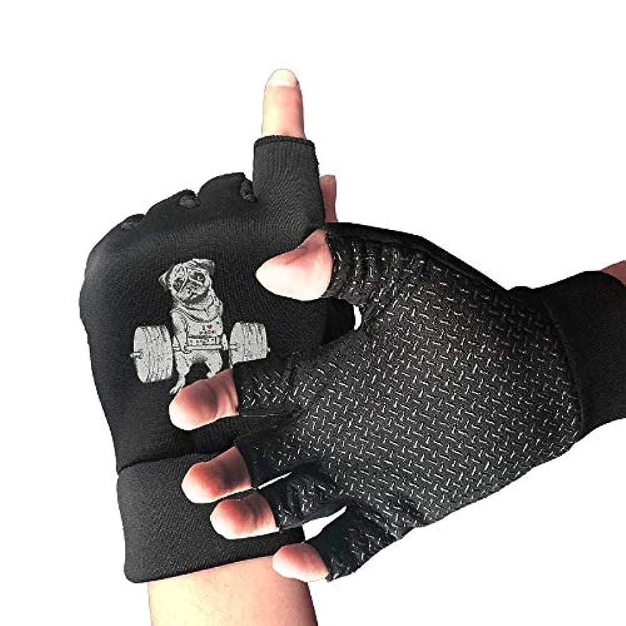 購入かもめ女の子Cycling Gloves Pug Weightlifting Men's/Women's Mountain Bike Gloves Half Finger Anti-Slip Motorcycle Gloves