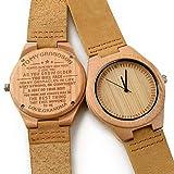 CUCOL メンズ 竹木製腕時計 ブラウン牛革ベルト 日本製クォーツムーブメント カジュアルウォッチ for my grandson