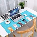 HAPPYMOON デスクパッド こども用 パソコンテーブル用パッド マウスパッド 大型 PU革 防水 滑り止め(マウスパッド 猫の足 90cm*42cm)