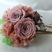 1069【コサージュ】【結婚式、入学式、卒業式】プリザーブドローズ・淡いブラウン(薄茶色)2輪
