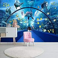 Wxmca カスタム写真壁紙3D海底世界漫画壁画子供寝室レストランスペース背景壁紙用壁3 D-250X175Cm