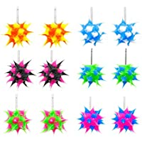 Hypoallergenic Spiky Earrings for Girls Kids 6 Pairs Pack - Multi Pair Silicone Cute Rave Ball Stud Earring Set - Surgical Stainless Steel Post - Safe for Sensitive Ears - Great Party Favors