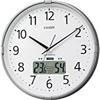 CITIZEN 【高精度温湿度計】【警告音】付・電波掛時計 インフォームナビS シルバー色 4FY621-019