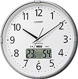 シチズン 電波 掛け時計 アナログ インフォームナビS 高精度 温度 ・ 湿度 計 【 熱中症 注意お知らせ警告音付】 銀色 CITIZEN 4FY621-019