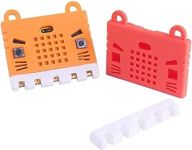 2個 BBC Micro:bit 保護ケース 非アクリルシリコーンケースかわいいパターン、ソフトMicroファイバーとのためBBC Micro:bitボードの保管が容易 レッドとオレンジ