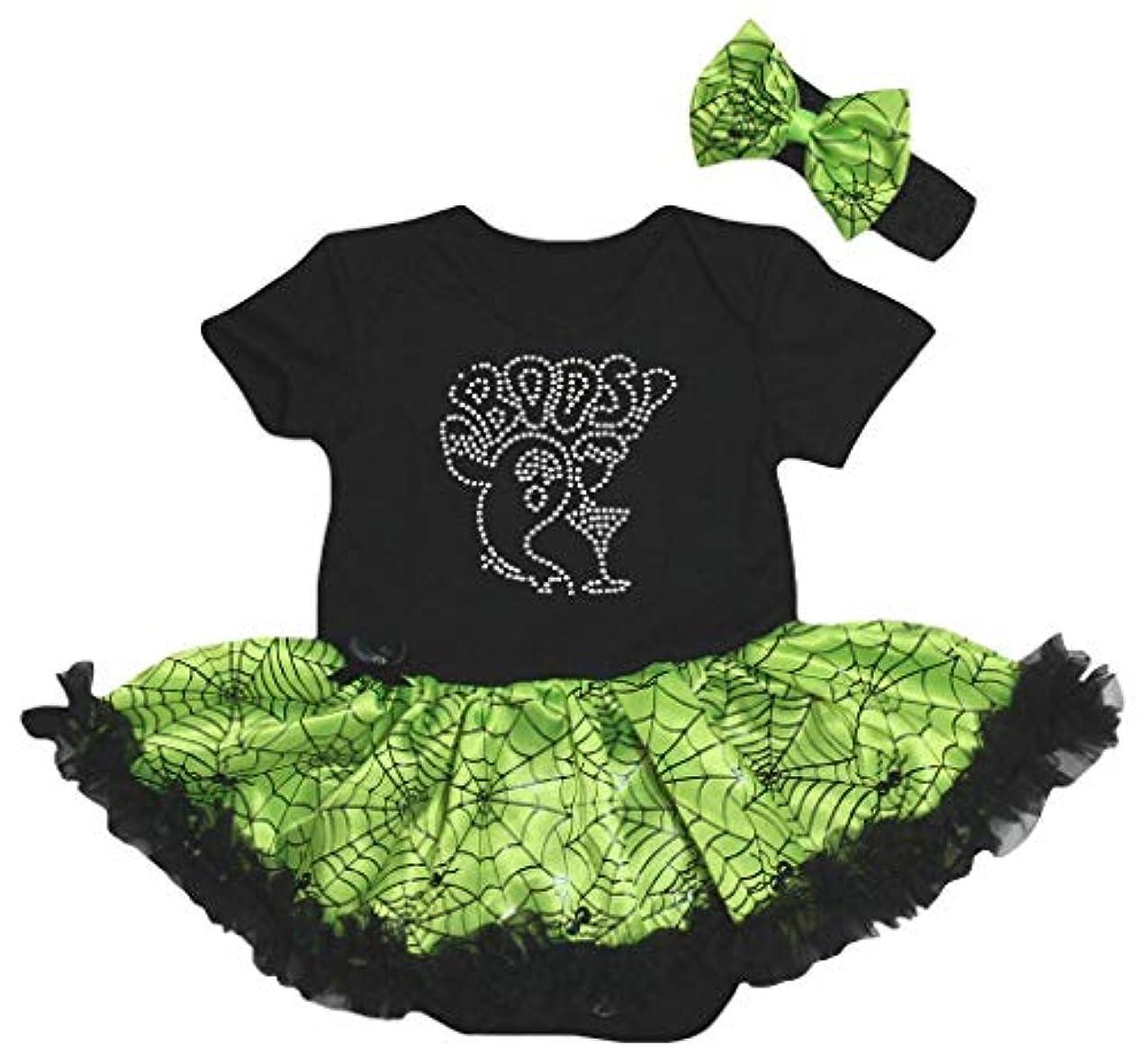 鋭くにおいワゴン[キッズコーナー] ハロウィン Boos! ゴースト ブラック グリーン コブウェブ 子供ボディスーツ、子供のチュチュ、ベビー服、女の子のワンピースドレス Nb-18m (ブラック, Medium) [並行輸入品]