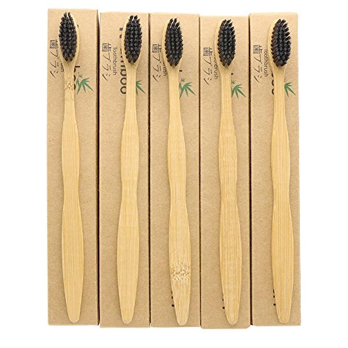 乞食電子レンジ工業化するN-amboo 歯ブラシ 5本入り 竹製 耐久性 黒