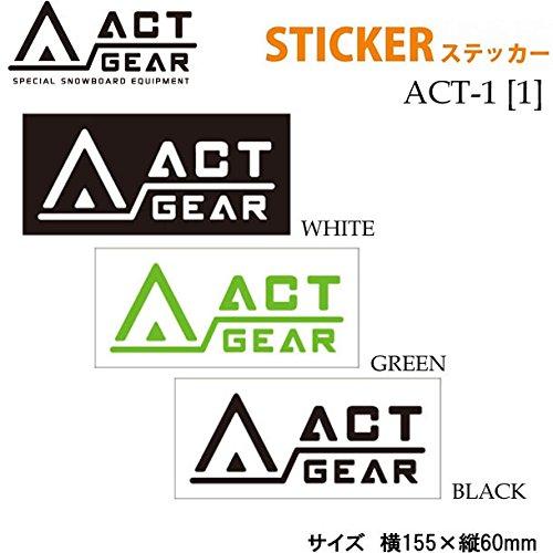 スノーボード ステッカー ACT GEAR [ACT-1] 【1】アクトギア カッティングステッカー (WHITE)