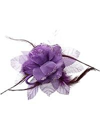 SODIAL(R)花と羽 髪の花ピンブローチ 女性用品- パープル