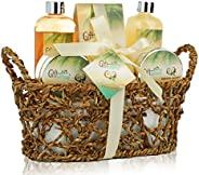Spa Gift Basket with Rejuvenating Tropical Coconut Fragrance in Cute Woven Basket, Includes Shower Gel, Bubble