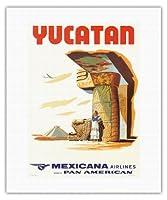 ユカタンメキシコ - マヤ遺跡 - メキシカーナ航空CMA - パンアメリカン航空のアフィリエイト - ビンテージな航空会社のポスター c.1960s - キャンバスアート - 41cm x 51cm キャンバスアート(ロール)