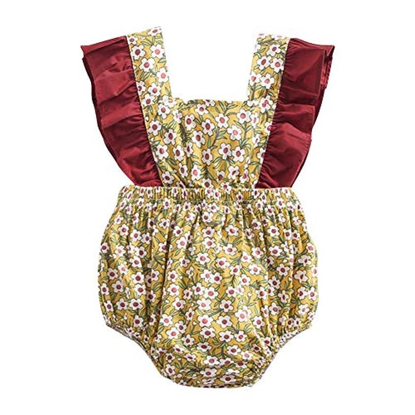倒産と闘うフェリーMCCRUA 出産祝い 赤ちゃん コスチューム、子供洋服、 ベビーウェア、 ジャンプスーツ、韓国子供服 女の子 コットン 花 プリント 可愛い 夏 ボディスーツ ロンパース ジャンプスーツ 5サイズ (18-24ヶ月)