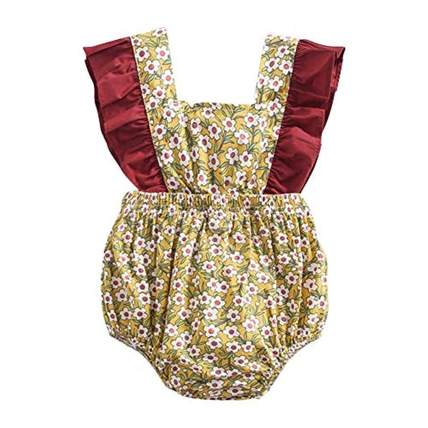 最大化する同行するヒギンズMCCRUA 出産祝い 赤ちゃん コスチューム、子供洋服、 ベビーウェア、 ジャンプスーツ、韓国子供服 女の子 コットン 花 プリント 可愛い 夏 ボディスーツ ロンパース ジャンプスーツ 5サイズ (18-24ヶ月)