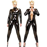 Fashion Queen Women's Costume Sexy Faux Leather 2 Way Zip Catsuit Plus Size
