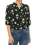 Allegra K (JP) レディース 女性 シャツ ブラウス 花柄 シングルブレスト カジュアル ブラック L