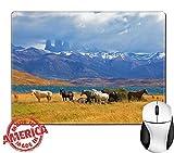 パタゴニア アウトドア Luxlady天然ゴムマウスパッド/マットwithステッチエッジ9.8X 7.9イメージID : 34582203on the Horizon Towering Cliffs Torres Del Paine美しいThoroughbred Horse Grazing In A Meadow Near the Lake