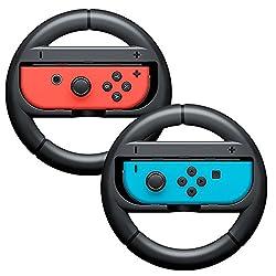 MyArmor ニンテンドースイッチ joy-Con ハンドル レースゲーム専用ハンドル マリオカート8専用ハンドル 2個セット(ブラック)