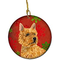 Carolines Treasures SS4706-CO1 Norwich Terrier Red Snowflakes Holiday Christmas Ceramic Ornament