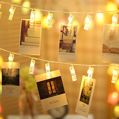 gledto Battery Powered Clothespin図形Romantic写真クリップLED文字列ライトクリスマス誕生日ウェディングパーティー祭装飾 Battery Operated LAP230