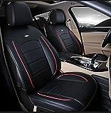 (ファーストクラス)FirstClass 四季用 上品なフルセット車シートカバー フロント リア シートカバー PUレザー製 ダクロン ファブリック エアバッグホールあり ニードルワーク 黒い 汎用 エコスポーツ フォーカス ジェッタ ティグアン 6pcs