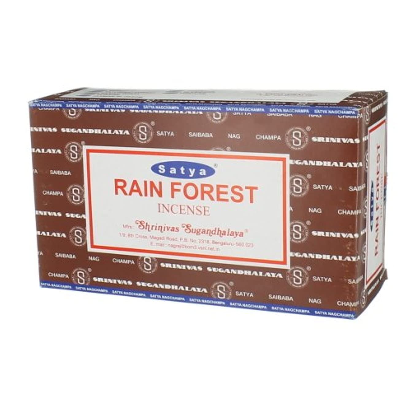 サドル充電セントSatya Nag Champa Rainforest Incense Sticks (Wholeケース)