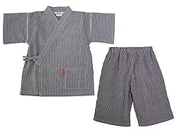 日本製 綿の郷 ヒッコリー柄ちぢみ織カジュアル甚平 じんべい 子供 男の子