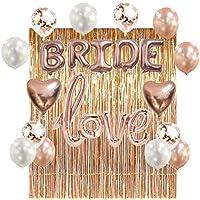 ローズゴールド 結婚式 飾り付け love&Bride風船 バルーン 紙吹雪入れ キラキラ バナー ハート アルミバルーン バレンタイン ウェディング パーティー (ローズゴールド)