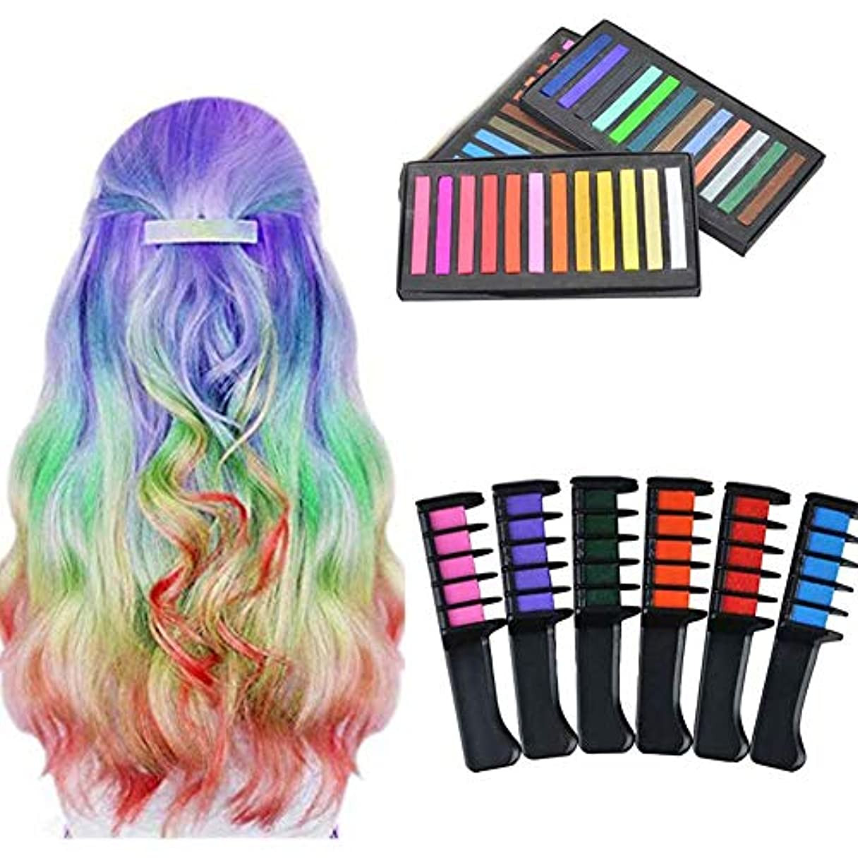 ヒューマニスティック告発観光キッズパーティー洗える髪染めペットキット(6色+ 36色ヘアスティック)のための髪染料チョーク櫛一時的な色