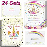 24pcs Unicorn Invitations with 24 Envelopes and Unicorn Thank You Tags Rainbow Glitter Unicorn Birthday Party Invitation Cards for Kids Birthday Baby Shower Unicorn Party Supplies Double Sided