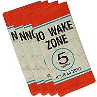 "E by design 19"" x 19"" No Wake Orange Word Print Napkin [並行輸入品]"