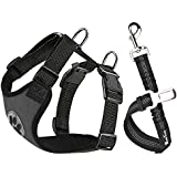 SlowTon Dog Car Harness Seatbelt Set, Pet Vest Harness with Safety Seat Belt for Trip and Daily Use Adjustable Elastic Strap and Multifunction Breathable Fabric Vest (M, Canvas Grey)