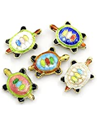 5 Pcs Cute Tortoise Beads Cloisonne Animals Spacer Bead Lampwork Mixed DIY Beads #1408
