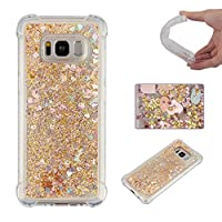 Samsung S8 Case,AICOO Shock-absorbing Bling Glitter Sparkle Liquid Moving Quicksand Flowing Soft TPU Case Anti-drop Protection Cover For Samsung S8,Gold