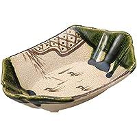 山下工芸(Yamasita craft) 織部 舟型刺身鉢 手造り 13×19.5×4.5cm 11014010