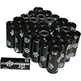 Zenify Dog Poop Bags Pet Waste (Set of 450, 30 Rolls) Unscented Paw Print (450, Black)