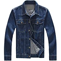 Chouyatou Men's Classic Collar Button Down Unlined Denim Trucker Jackets