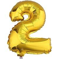 C-Princessアルミ風船 バルーン 数字 ナンバー 0-9組合自由 飾り 誕生日ハロウィン クリスマス イベント パーティー 結婚式応援 ゴールド (2)