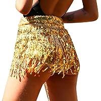 neveraway Womens Sparkle Tassel Edge Pull On Style Nightclub Hot Pants