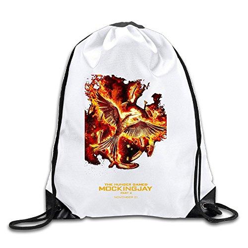 面白い メンズ レディース ハンガー ゲーム 映画 ポスター 巾着バックパック 旅行 釣りスポーツ 折りたたみ式 White
