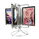Stainless Steel Rotating Photo Frame, 8 Photos Shows for 4x6in Photographs, Vintage Retro Style Multiple Picture Frame with Glass Front, Fit for Stands Vertically on Desk Table Top
