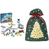 レゴ(LEGO) シティ パッセンジャー エアプレイン 60262 + インディゴ クリスマス ラッピング袋 グリーティングバッグ3L クリスマスツリー ダークグリーン XG984