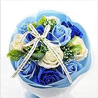 【セール中】BIO Newローズブーケ 期間限定、在庫限り! フレグランスソープフラワー クリアバック・ギフトボックス付 お祝い 記念日 お見舞い バレンタインデー ホワイトデー 母の日  (ブルー)