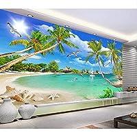 Mingld 現代地中海のヤシの壁紙壁画写真壁の壁画3D壁紙リビングルームテレビの背景Walpaper-120X100Cm