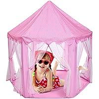 キッズ用インドアプリンセスCastle Play Tents、アウトドアLarge Playhouse子子供ピンク再生テント【USストック】