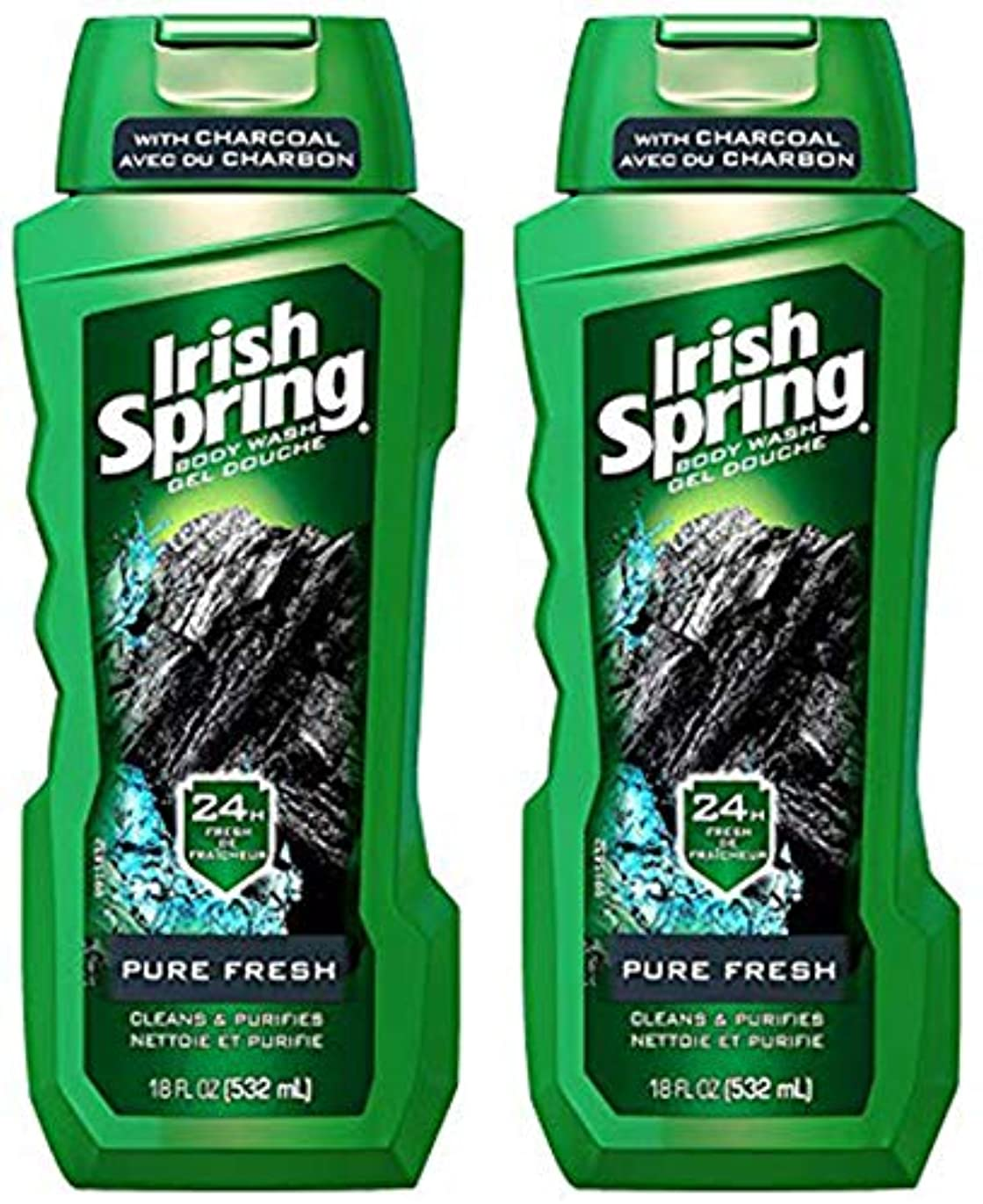 Irish Spring 18オンス、2のパック - 炭ピュアフレッシュでボディーウォッシュ
