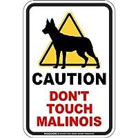 CAUTION DON'T TOUCH マグネットサイン:ベルジアンマリノア(スモール) 注意マーク 手を出さない 触れない/触らない 英語 防犯 アメリカンマグネットステッカー