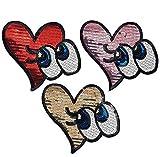 【全3色】【3枚フルセット】大きな スパンコールモチーフ ハート型 瞳 刺繍 アップリケ ワッペン スパンコール アイロン ワッペン (Multi)