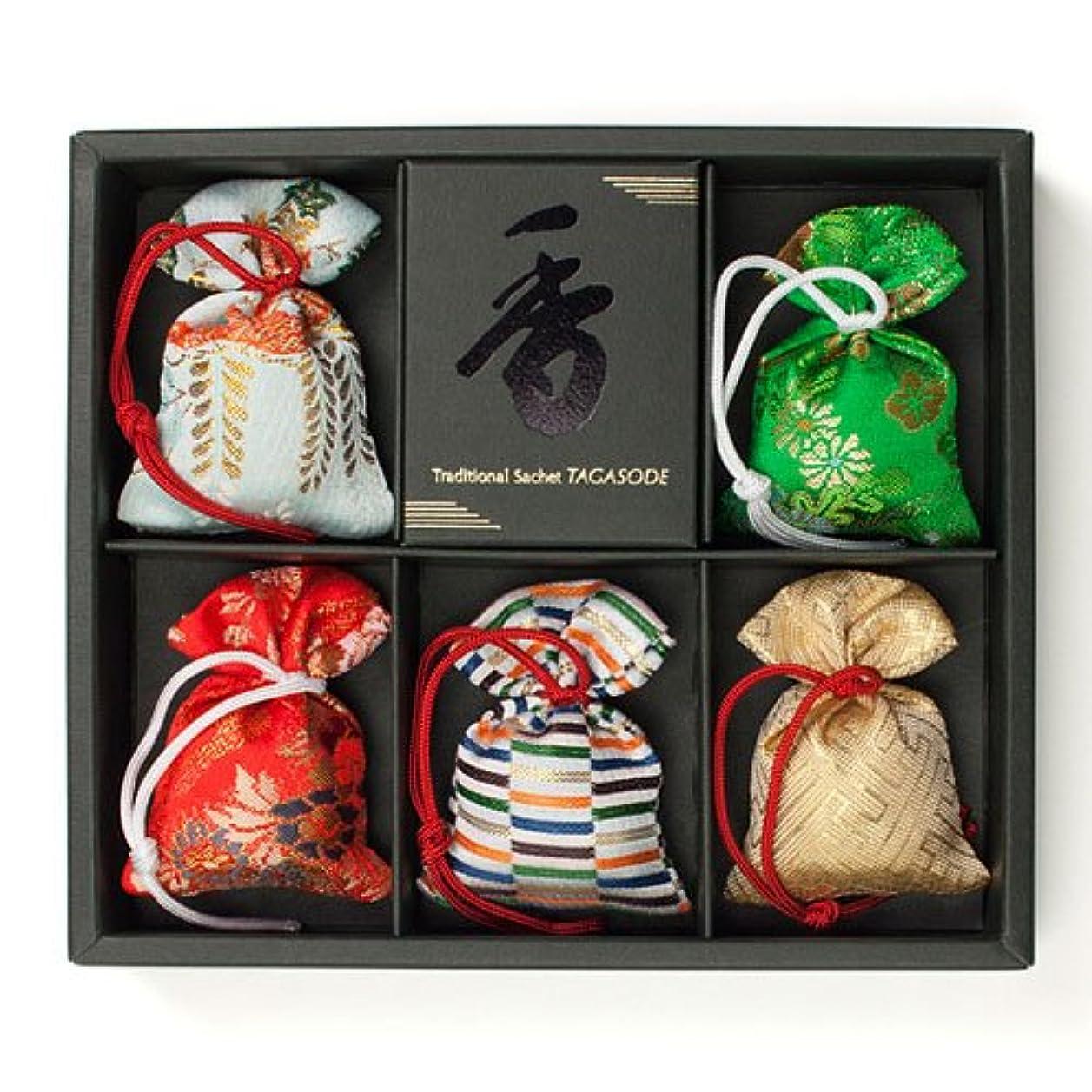 自我研磨実験をする匂い袋 誰が袖 極品 5個入 松栄堂 Shoyeido 本体長さ60mm (色?柄は選べません)