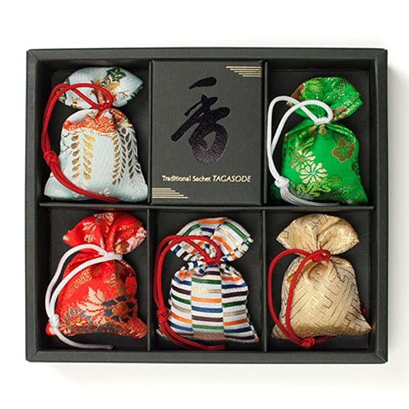 ガラスドーム流用する匂い袋 誰が袖 極品 5個入 松栄堂 Shoyeido 本体長さ60mm (色?柄は選べません)