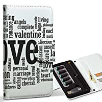 スマコレ ploom TECH プルームテック 専用 レザーケース 手帳型 タバコ ケース カバー 合皮 ケース カバー 収納 プルームケース デザイン 革 英語 白 黒 LOVE 009299